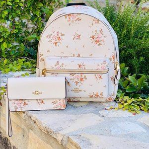 NWT Coach rose bouquet md Charlie Backpack&wallet